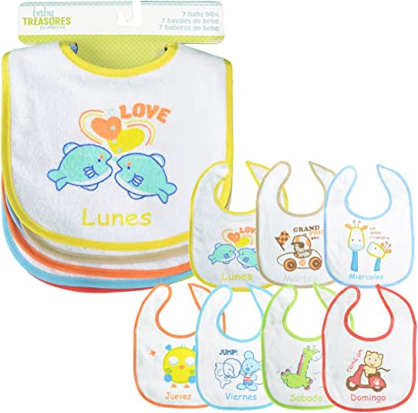 PEKITAS Pack 7 Baberos Para Bebe Impermeable Cierre Suave Algodón ...