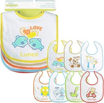PEKITAS Pack 7 Baberos Para Bebe Impermeable Cierre Suave Algodón Tamaño 28 cm x 21 cm: Amazon.es: Bebé