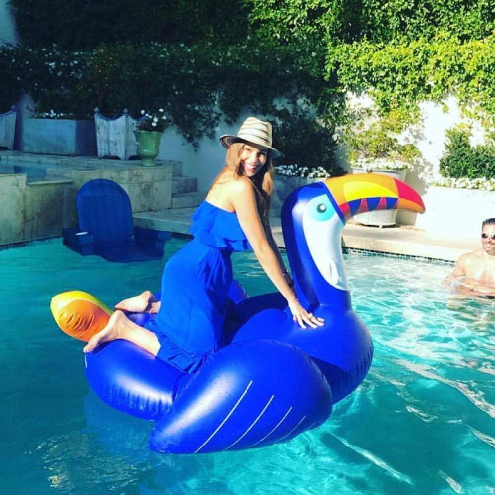 Svvsgf Juguetes acuáticos para Piscina, Agua Azul Inflable tucán Fila Flotante tucán Pico Largo pájaro Carpintero Anillo de natación Montaje Adulto Fila Flotante