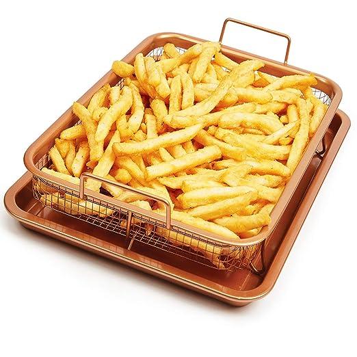 Ica-Home Bandeja de horno de cobre y cerámica para papas fritas ...