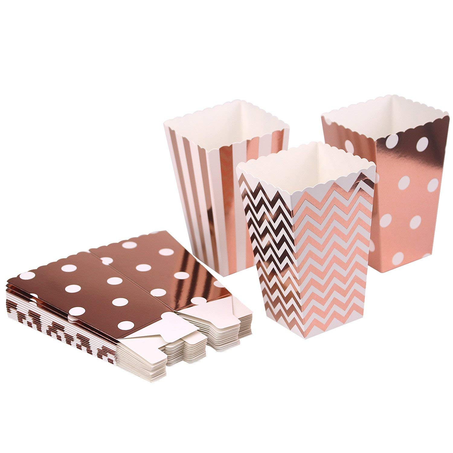Mini Poprcorn Boxes 100 Pack Rose Gold Paper Popcorn Snack Containers Treat Box for Wedding Party Bridal Shower Birthday Movies by BALANSOHO (Image #5)