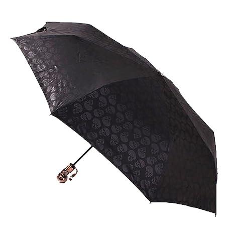 ColorDrip calavera mango plegable automática paraguas de viaje, negro (negro) - OU100190