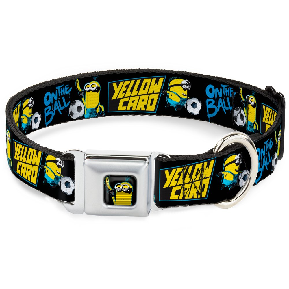 Buckle-Down DC-WDS067-WL DSDB Minion Soccer Card Full color Black bluee Yellow Dog Collar, WIDE-Large 18-32