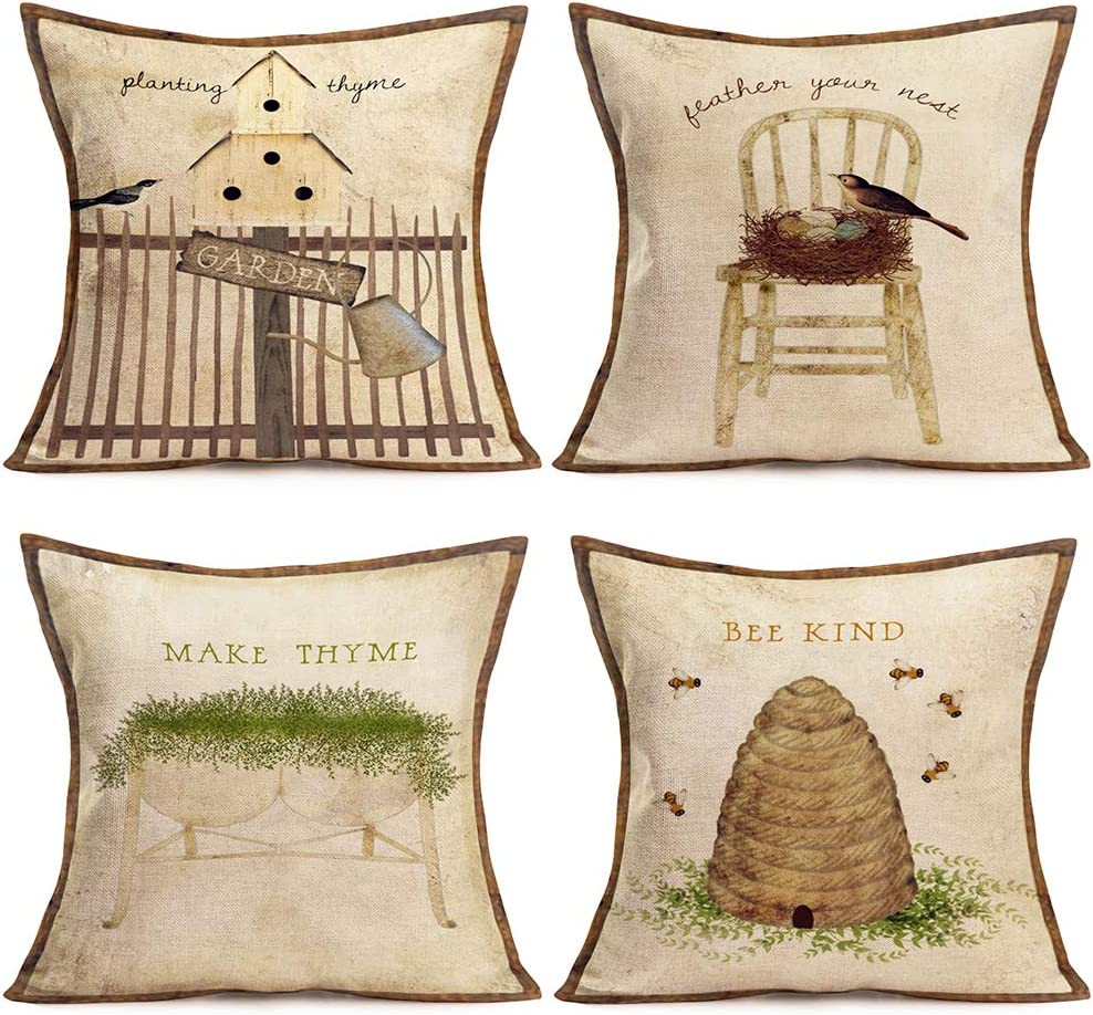 """Doitely Literary Antique Style Throw Pillow Covers Planting Thyme Feather Your Nest Make Thyme Bee Kind Lettering Throw Pillow Case Couch Outdoor Bench Decor Pillowcases Cotton Linen 18""""×18"""", 4 Pcs"""