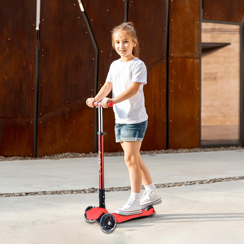 Rosa Manillar Altura Ajustable y Freno Posterior para Ni/ños Speedy Scooters/® Doblo LED Patinete de 3 Ruedas Luminosas LED Inclinable F/ácil de Girar Plegable