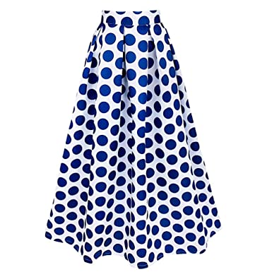 iiniim Retro Longue Jupe Plissée Femme Patineuse Imprimer à Grande Pois  A-Line élégante Jupe Maxi Robe Fille Bleu Blanche Taille Haute S-2XL   Amazon.fr  ... 3a3ad89e28f5