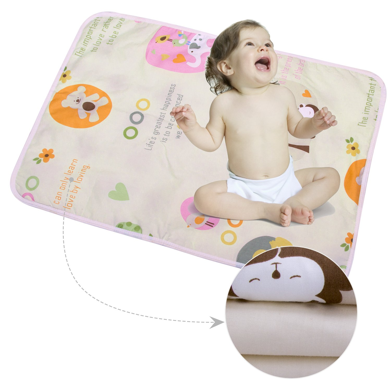 3PCS Infant Waterproof Urine Mat Cover - Breathable Changing Pad Protector for Baby Boys Girls (Bear, M - 19.69 x 27.56 Inch (3 Piece)) anjerry