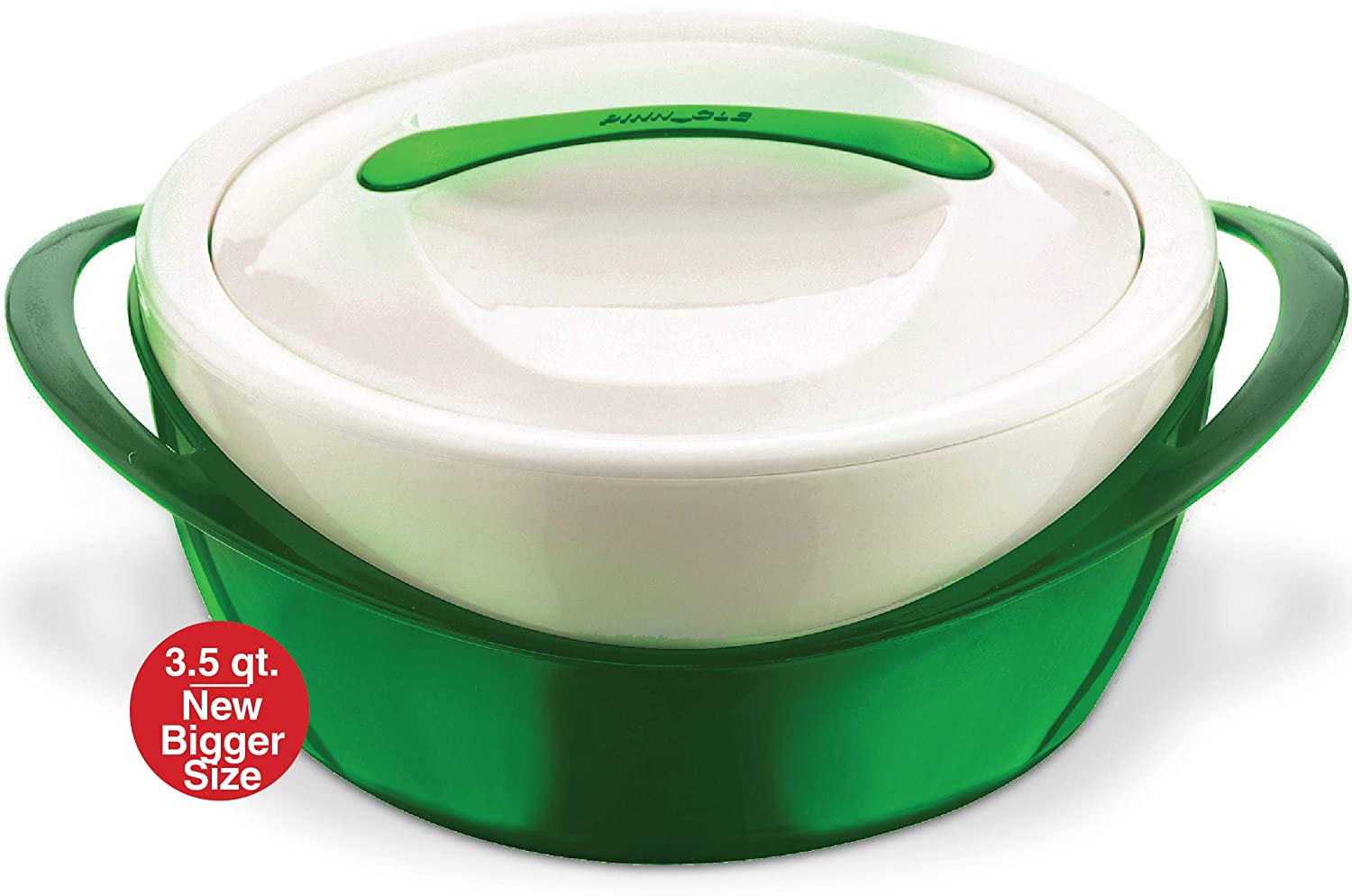 Pinnacle Casserole Dish - Large Soup and Salad Bowl - Insulated Serving Bowl With Lid (3.6 qt, Green)