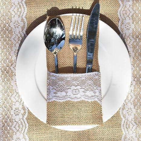 Awtlife 60 Paquetes de Soportes de arpillera de Encaje para Utensilios de Cocina, Cubiertos,