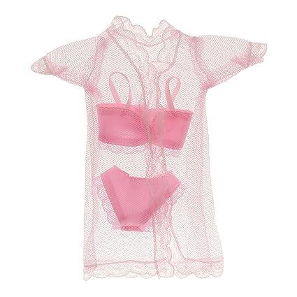Accesorios Ropa Pijamas Encaje Fijado con Mangos Muñecas Barbie Rosas