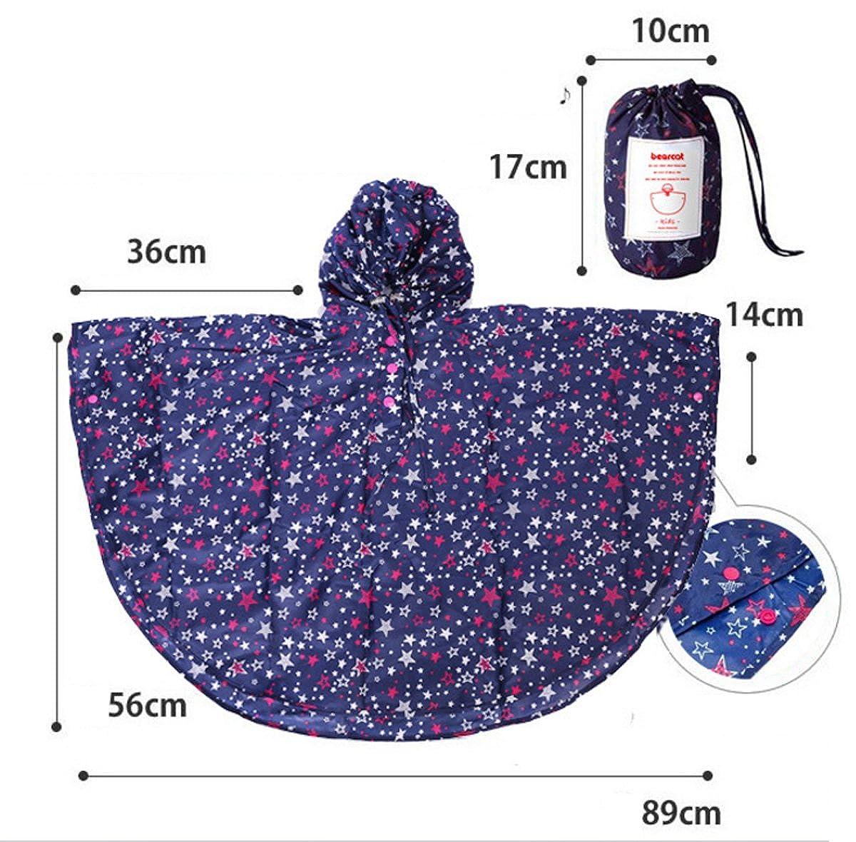 Comfysail Kinder M/ädchen Stern Regenmantel Regenponcho Regenjacke mit Kapuze Wasserdicht Regencape Softshelljacke