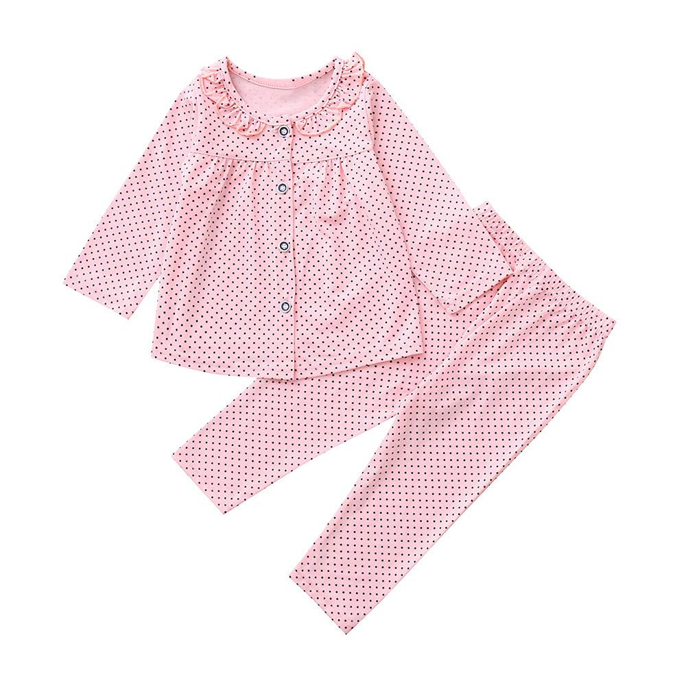 Zerototens Newborn Outfit Set,0-2 Years Old Toddler Baby Girls Autumn Winter Long Sleeves Polka Dot Top+ Pants Cotton Pajamas Outfit Sleepwear Clothes Sets