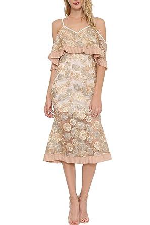 GEEGEEBAE L atiste Women s Sheer Cold Shoulder Midi Dress Metallic Floral  Embroidery ... 638089807