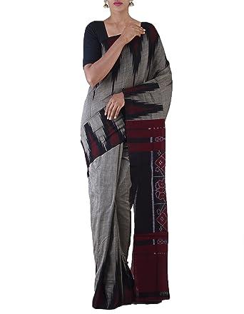 2677d698f8009d Unnati Silks Women Grey-Black Pure Handloom Sambalpuri Cotton Ikat Saree(UNM22032):  Amazon.in: Clothing & Accessories