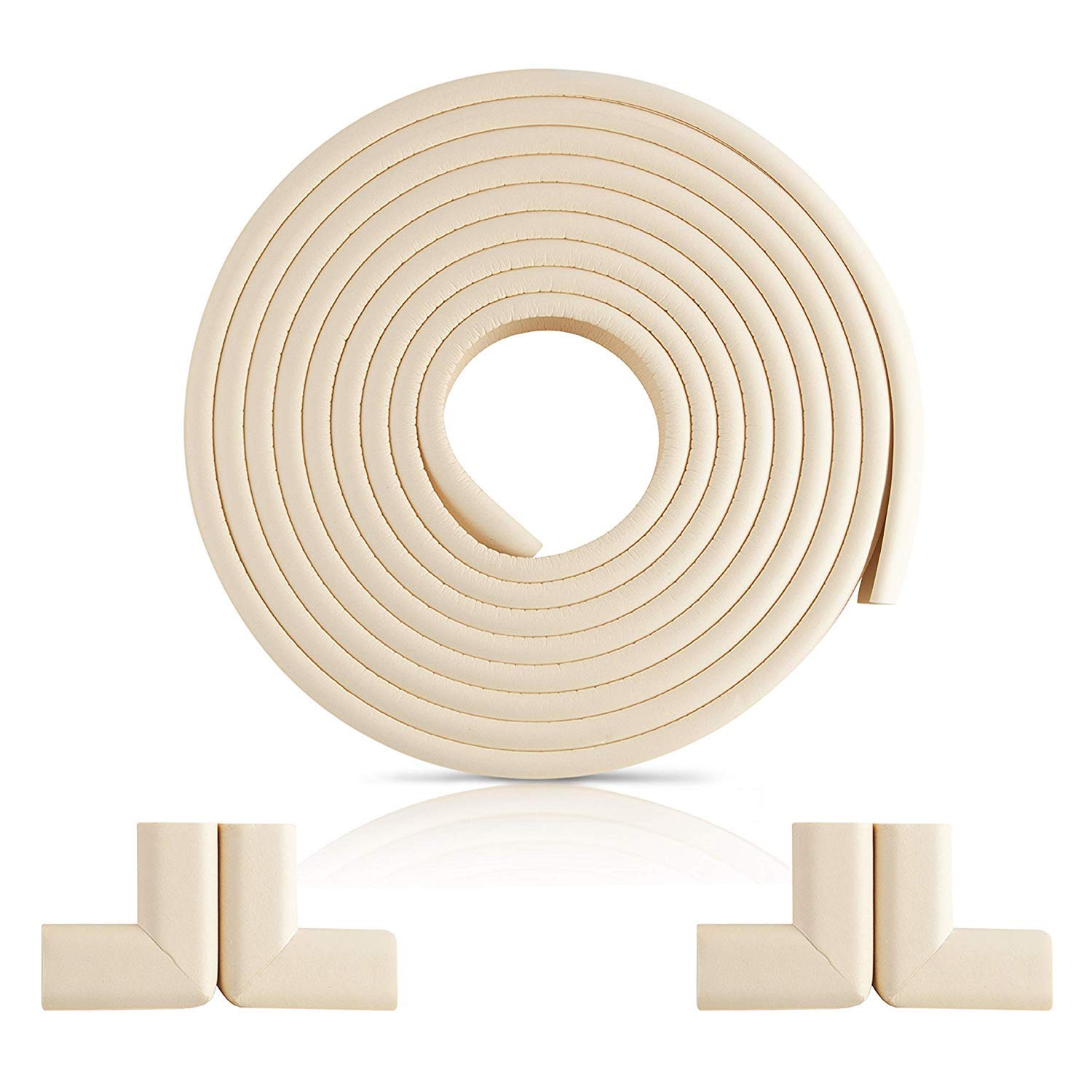 NEW Furniture Edge and Corner Guards | 16.2ft Protective Foam Cushion | 15ft Bumper 4 Adhesive Childsafe Corners | Baby Child Proofing Foam Set and Safe for Table, Fireplace, Countertop | White