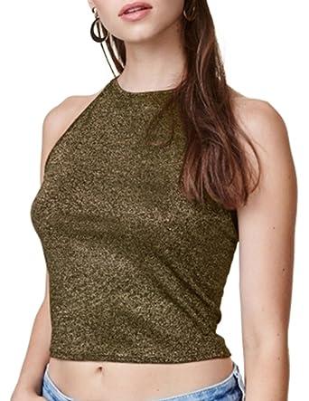 ASMAX HaoDuoYi Womens Gold Bright Silk Crop Tank Top at Amazon Women s  Clothing store