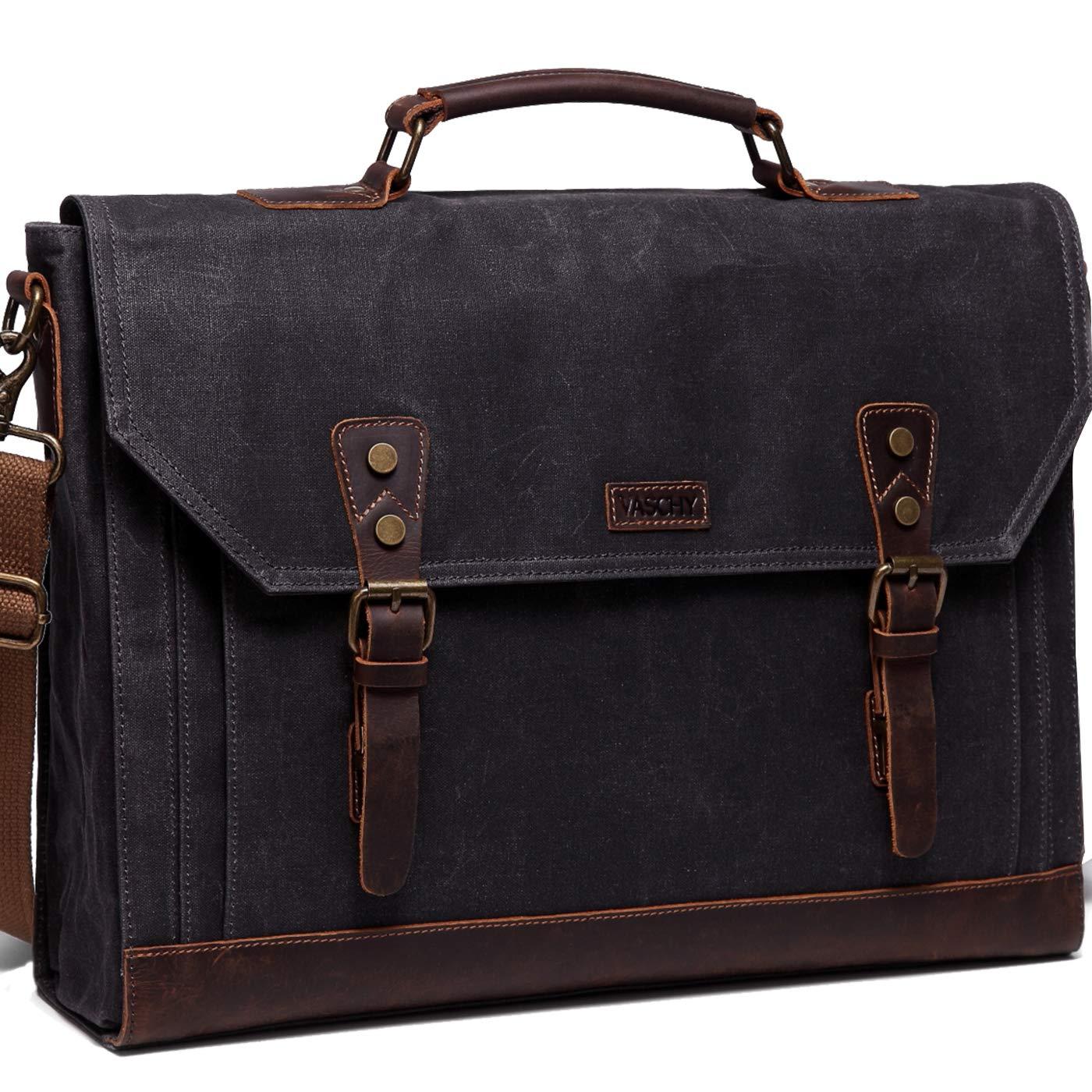 17 inch Laptop Messenger Bag,Vaschy Vintage Waxed Canvas Leather Water Resistant Mens Satchel Briefcase Bag Business Shoulder Bag Gray