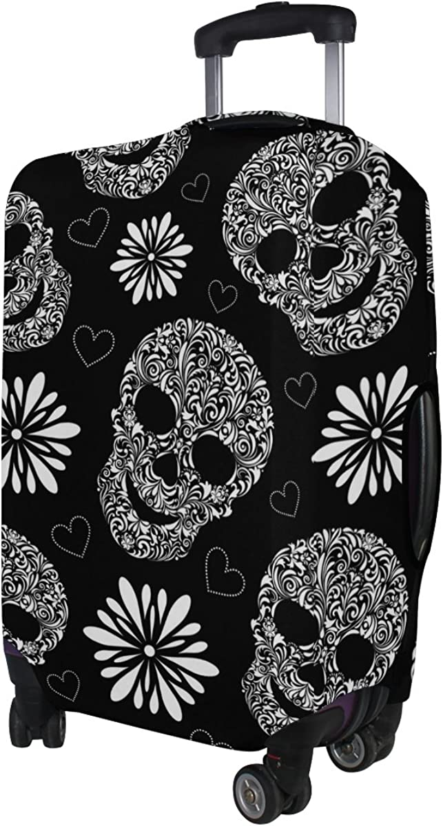 LAVOVO Abstract Sugar Skull Floral Luggage Cover Suitcase Protector Carry On Covers