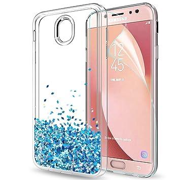 LeYi Funda Samsung Galaxy J7 2017 / J7 Pro Silicona Purpurina Carcasa con HD Protectores de Pantalla,Transparente Cristal Bumper Telefono Gel TPU ...