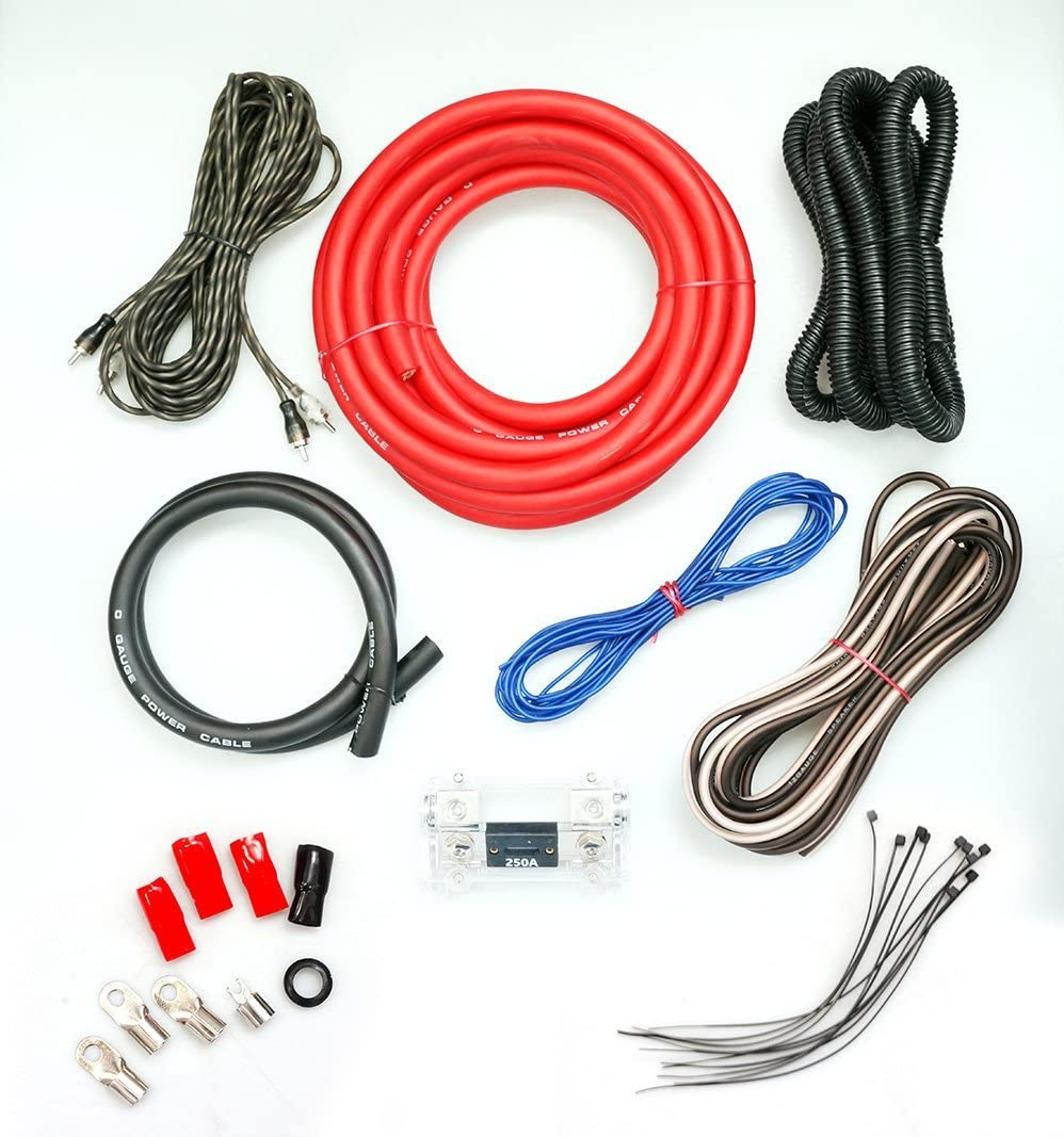 Absolute KIT0R5000 0 Gauge Amp Kit Amplifier Install Wiring 1/0 Ga Pro Installation Cables 5000W 71x-KEu3woL