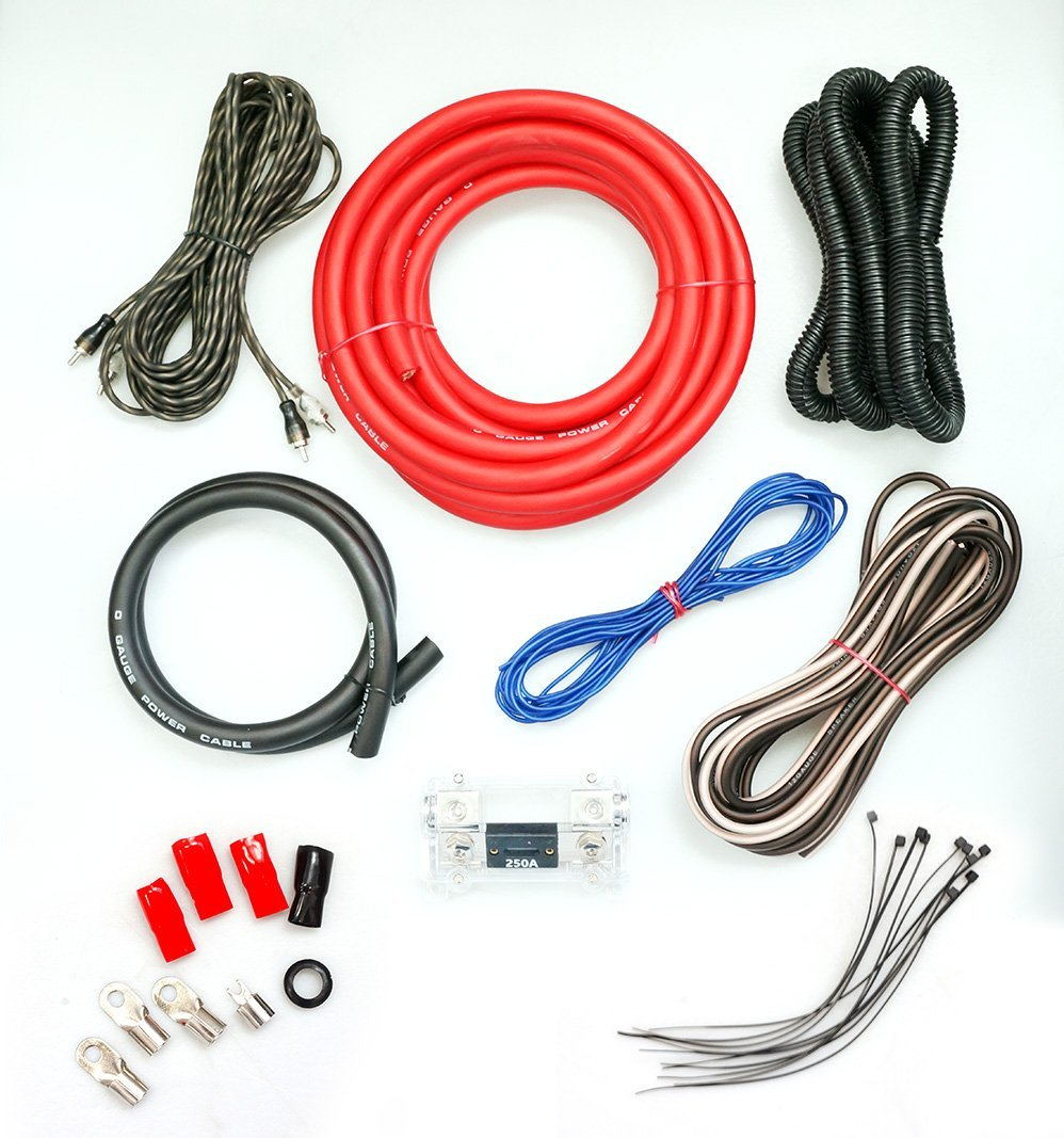 Absolute KIT0R5000 0 Gauge Amp Kit Amplifier Install Wiring 1/0 Ga Pro Installation Cables 5000W