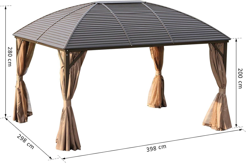Outsunny – Carpa de jardín, Carpa para Fiestas, Carpa Plegable, 4 x Laterales Dobles, Impermeable, 2 Ganchos para faroles, Aluminio + poliéster, ...