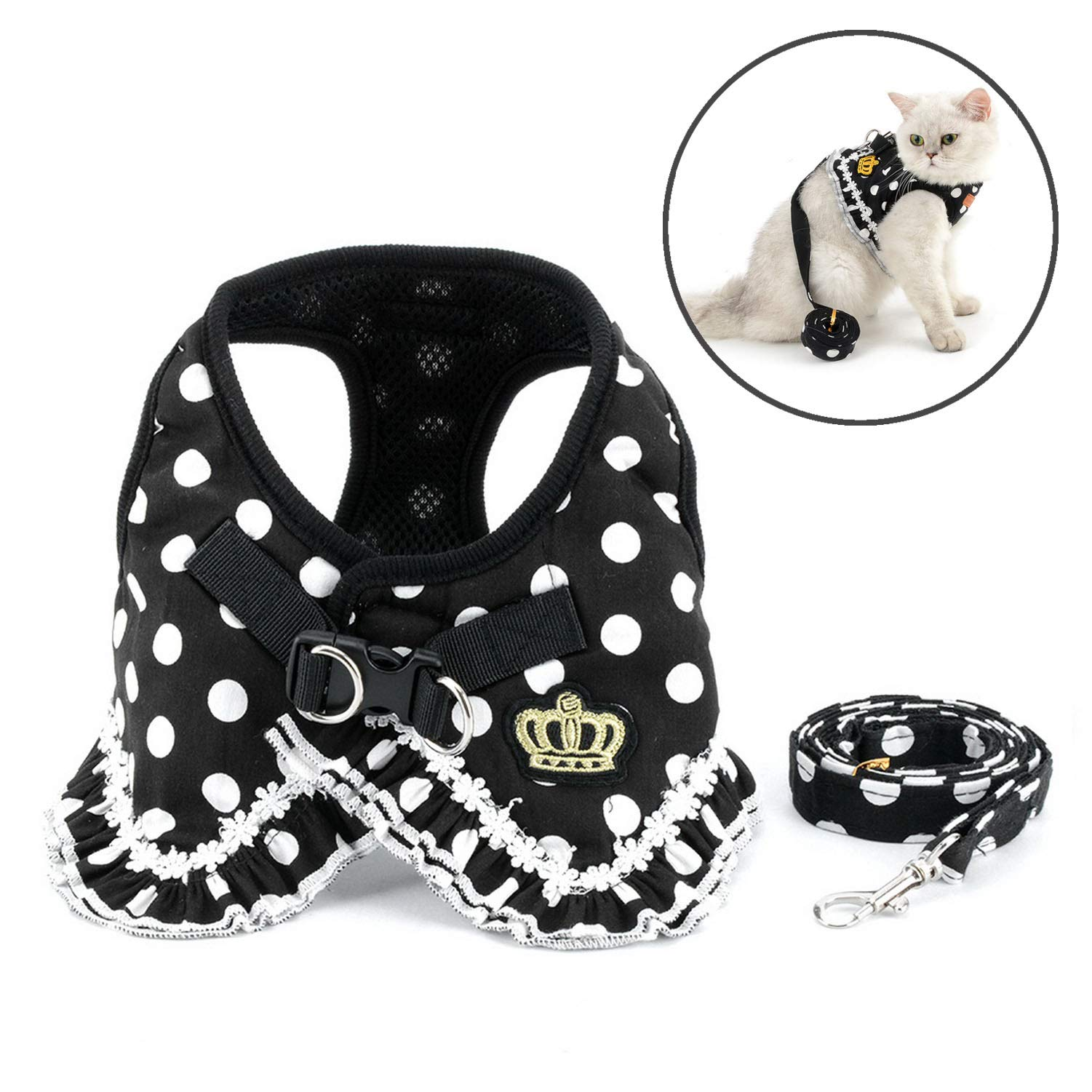 Zunea Polka Dots Cat Harness and Leash Set Girl Kitten Crown Escape Proof No Pull Choke Vest Clothes for Walking, Step in Soft Mesh Padded Puppy Harness for Small Dog Black S