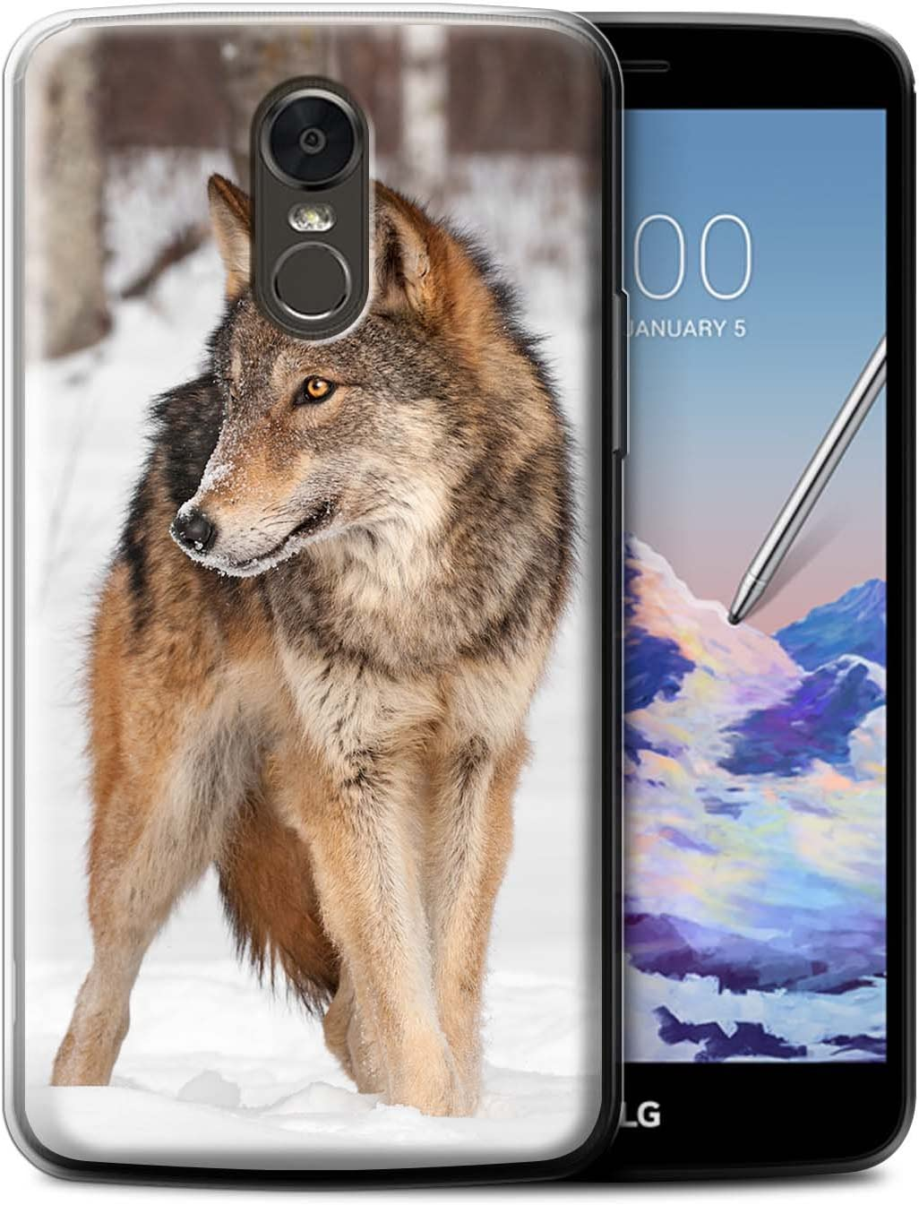 Phone Case for LG Stylus 3/Stylo 3/K10 Pro Wildlife Animals Wolf Design Transparent Clear Ultra Soft Flexi Silicone Gel/TPU Bumper Cover