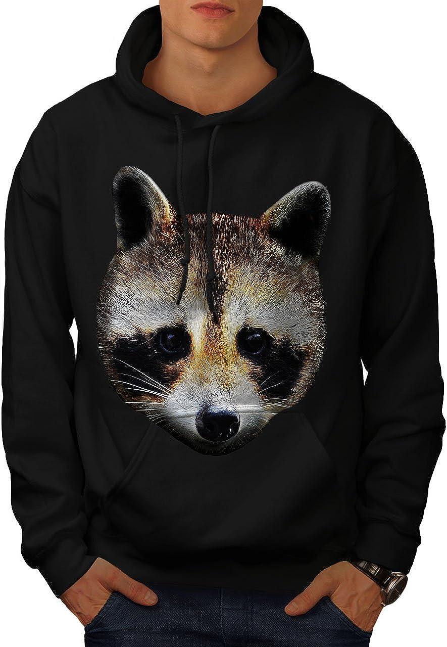 Head Hooded Sweatshirt wellcoda Cute Animal Racoon Face Mens Hoodie