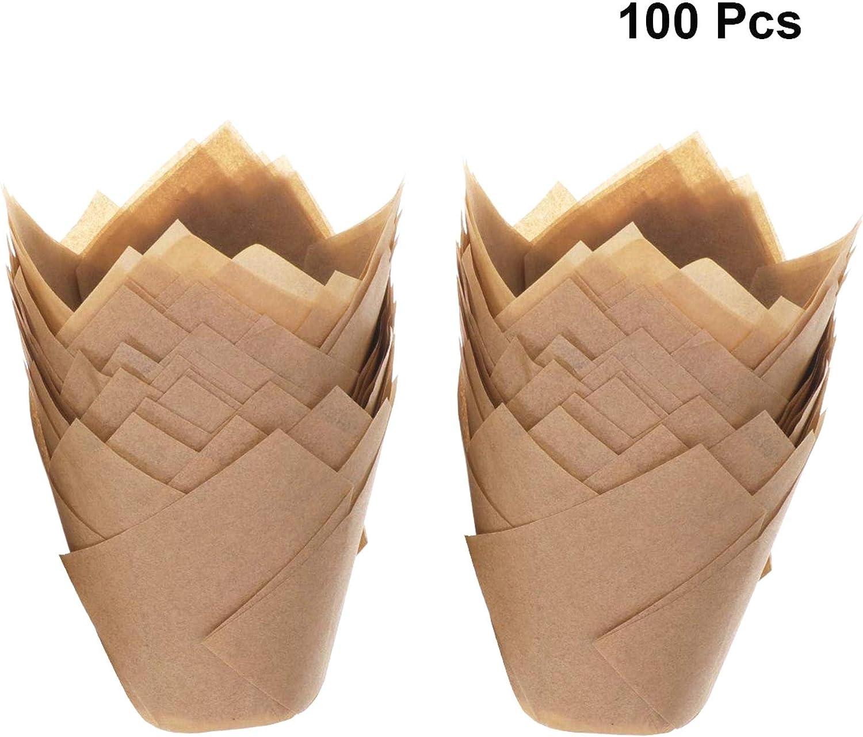 AYUN 100 St/ück nat/ürliche Farbe Cupcake Muffin Liner Wrapper Tulpen Cupcake Liner Papierf/örmchen Holzfarbe