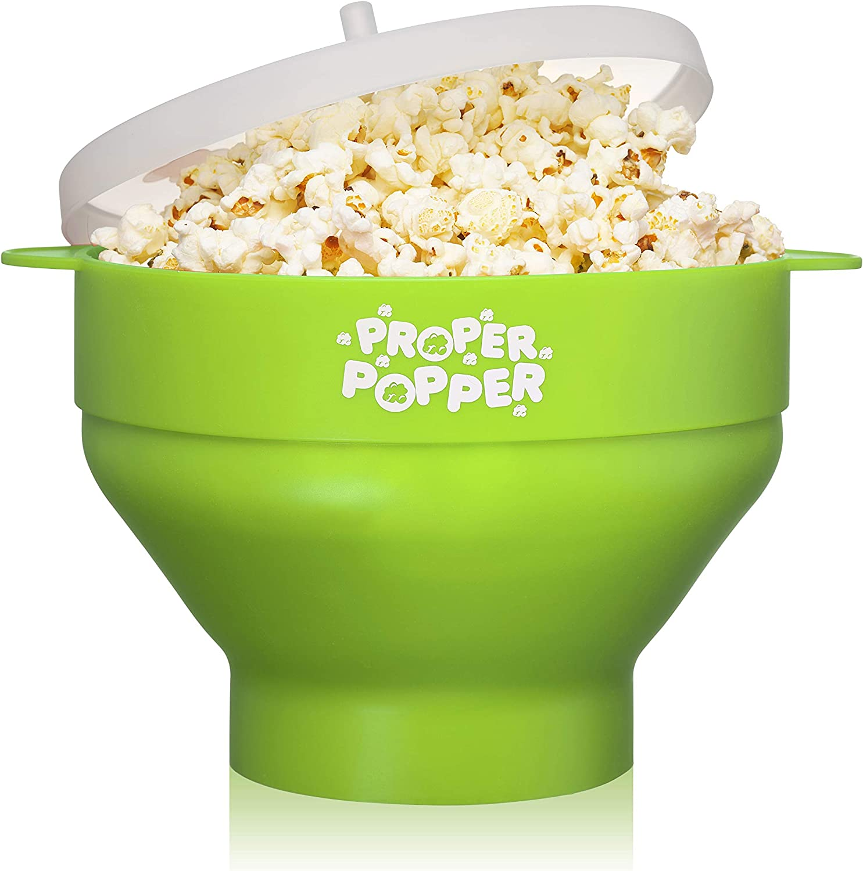 The Original Proper Popper Microwave Popcorn Popper, Silicone Popcorn Maker, Collapsible Bowl BPA Free & Dishwasher Safe - (Green)