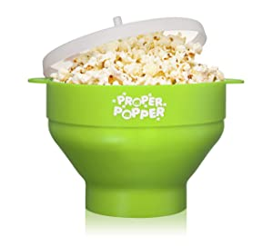 The Original Proper Popper Microwave Popcorn Popper, Silicone Popcorn Maker, Collapsible Bowl BPA Free & Dishwasher Safe (Green)