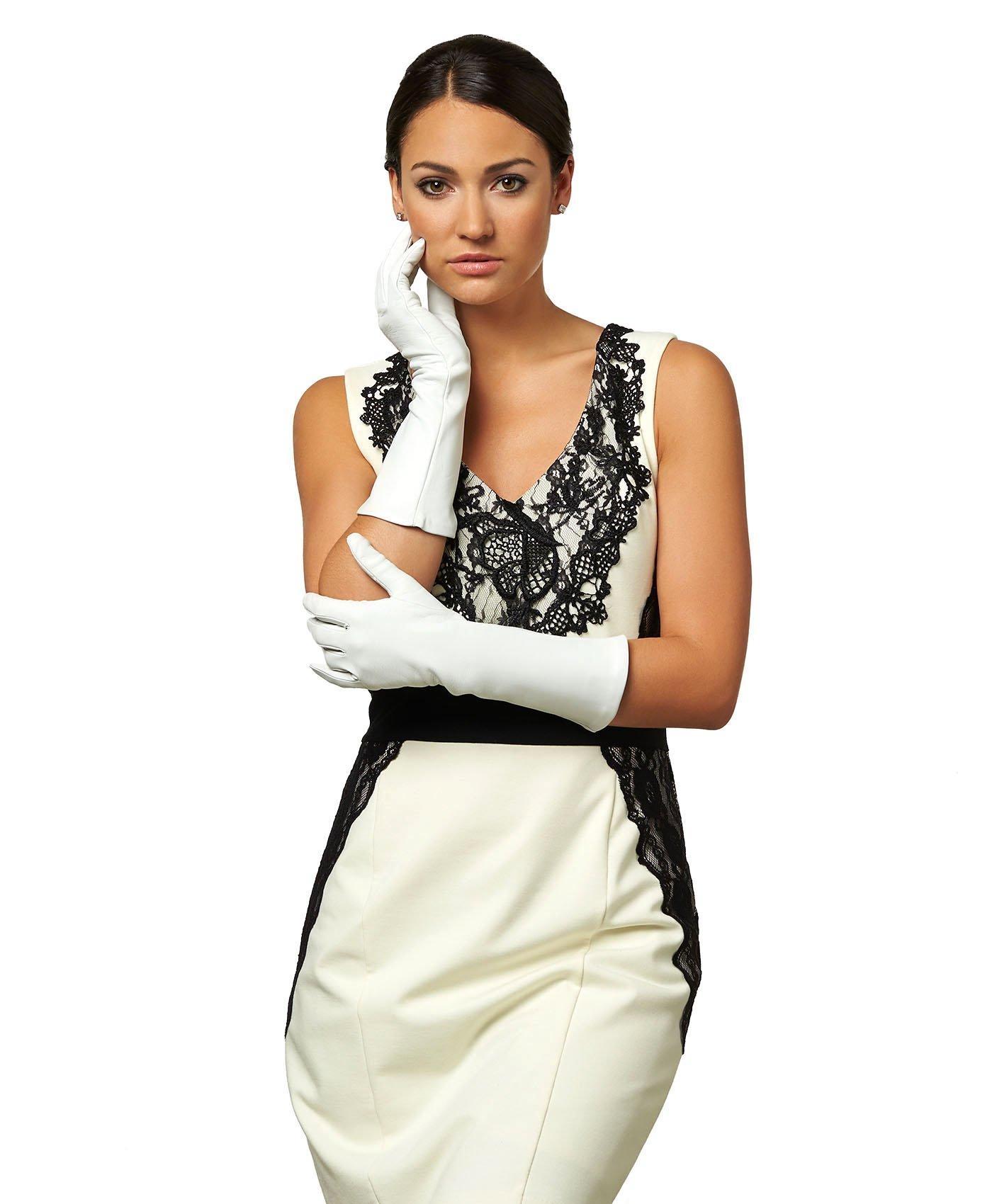 Fratelli Orsini Women's Italian Silk Lined 6-Button Length Bridal Gloves Size 7 1/2 Color White by Fratelli Orsini (Image #5)