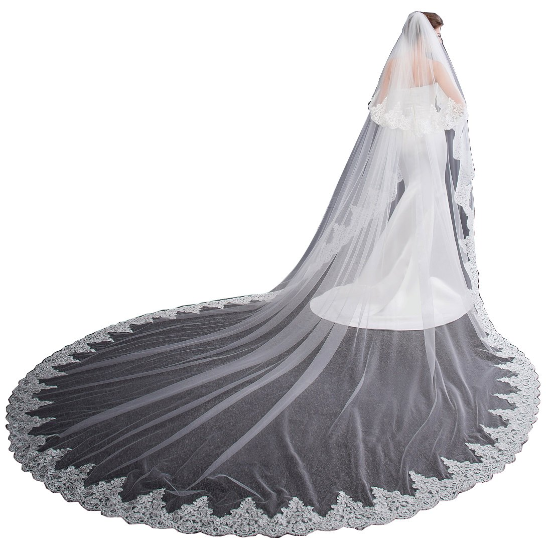 EllieHouse Women's 2 Tier Cathedral Lace White Wedding Bridal Veil With Comb L01WT