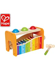 Hape - Pound & Tap Bench with Slide Out Xylophone One Size Yellow