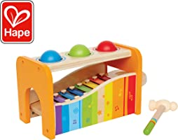 Hape Pound & Tap Bench with Slide Out Xylophone - Award Winning Durable Wooden Musical Pounding Toy for Toddlers,...