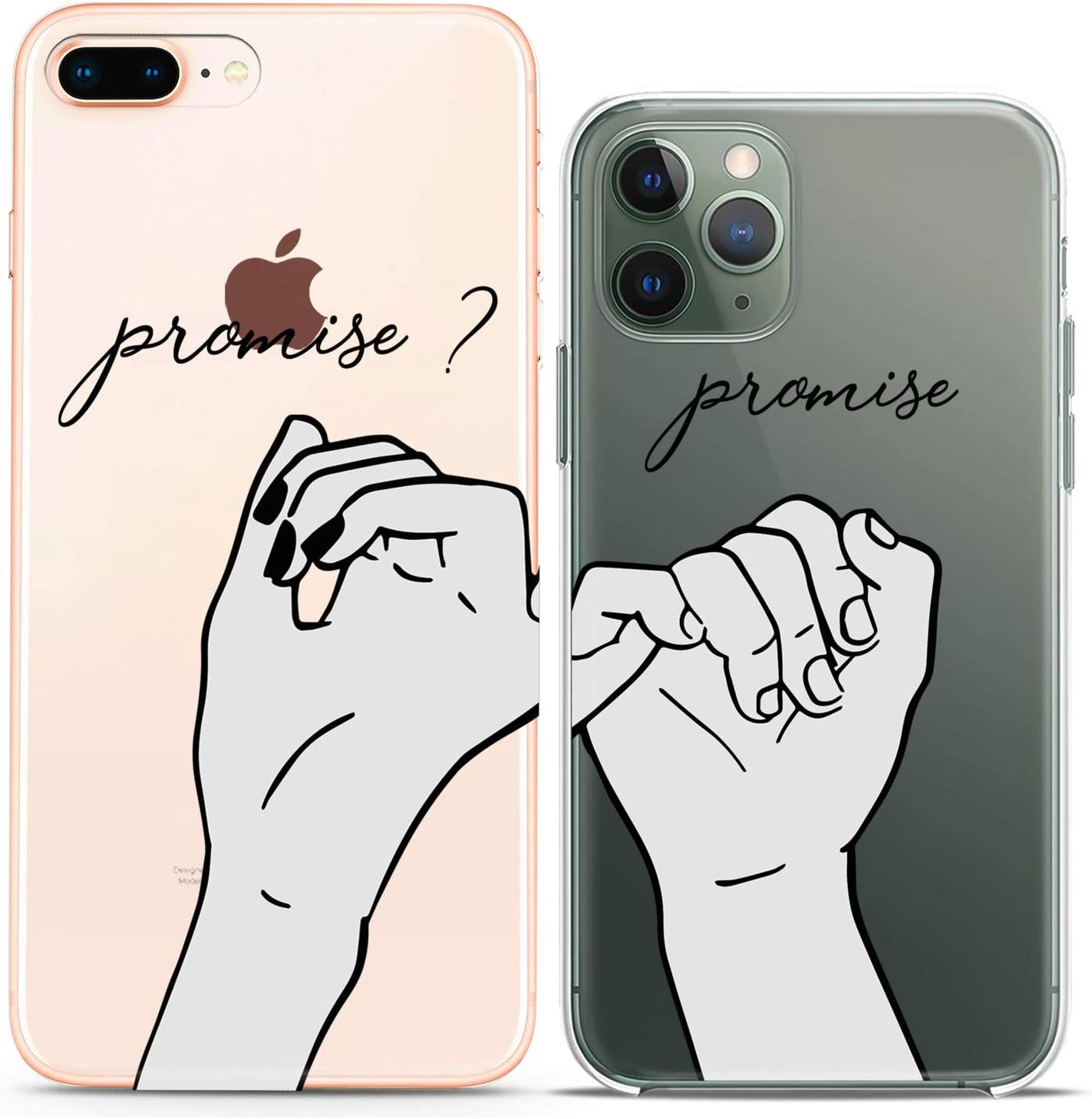 Cavka TPU Couple Cases for Apple iPhone 11 Pro Xs Max X Xr 8 Plus 7 6s SE 5s Promise Hands Clear See Through Pinky Swear Print Matching Girlfriend Friend BFF Soulmate Flexible Silicone Cover Elastic
