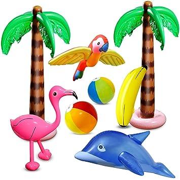 aovowog 8 PCS Inflables Palmeras Flamingo Juguetes Inflables ...