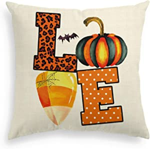 AVOIN Halloween Watercolor Love Throw Pillow Cover, 18 x 18 Inch Leopard Polka Dot Pumpkin Bat Candy Corn Cushion Case Decoration for Sofa Couch