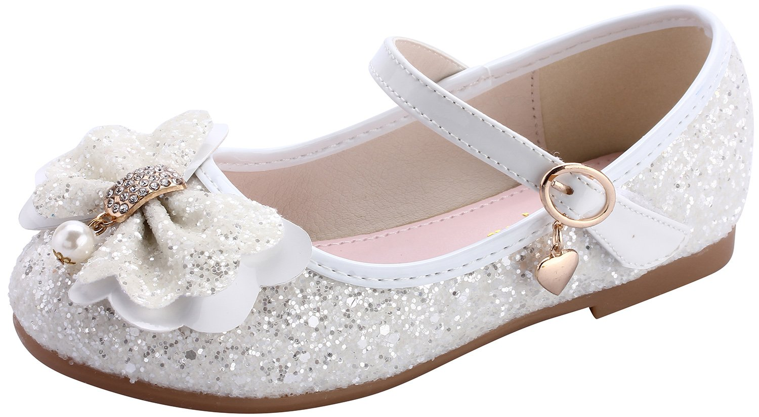 miaoshop Flower Girls Dress Ballet Flats Casual School Mary Jane Glitter Bow Shoes (10 M US Toddler, White) by miaoshop (Image #1)