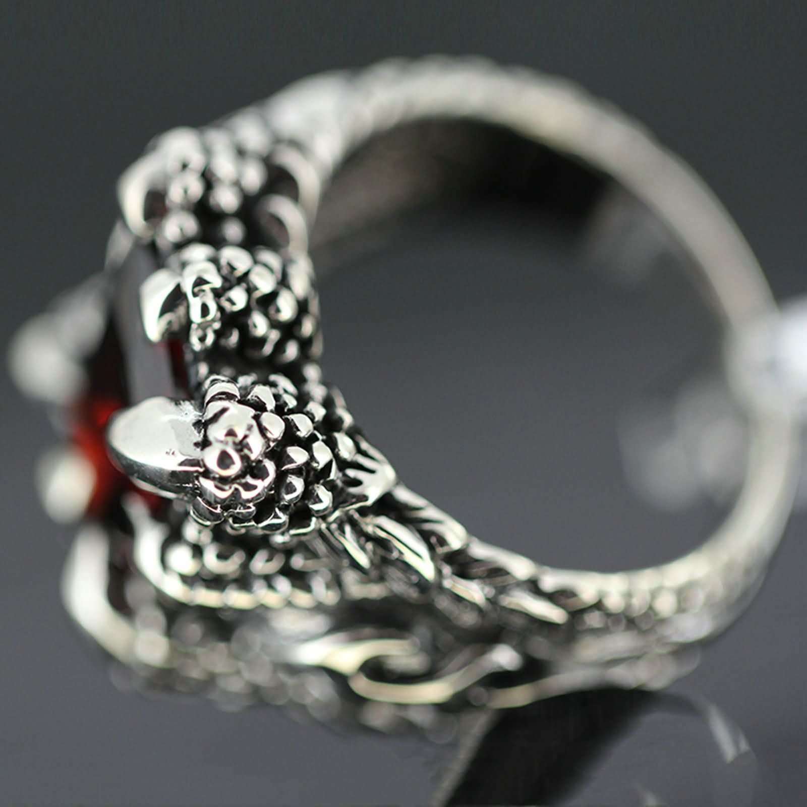 Bishilin Rings for Men Silver Plated Paw with Rectangle Red Gem Partner Rings Silver Size 10 by Bishilin (Image #2)
