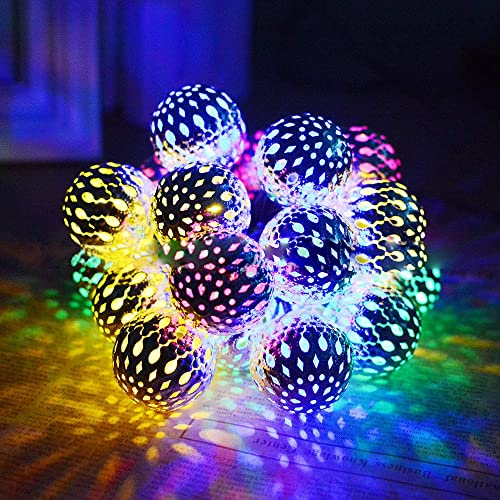 KORADA Solar String Lights Moroccan Ball Light 15.7ft 20LED Globe Fairy String Lights Solar Powered Lantern Christmas Lighting for Garden, Yard, Patio, Xmas Tree, Party, Home Decoration Multi Color
