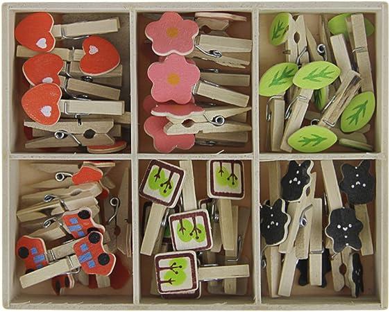 Confezione da 48 mollette cute mini portafoto in legno con cordoncino di juta naturale spago assortimento di 6 tipi lovely Cartoon Shape clip morsetto per foto biglietti appunti
