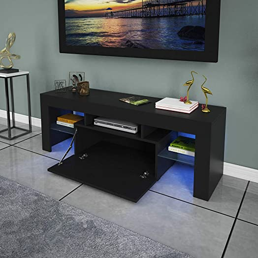 US Fast Shipment Modern TV Stand w High-Gloss LED Lights w Tempered Glass Base – High-end Luxury TV Console w Storage Shelf, Media Entertainment Center Wooden TV Cabinet for Living Room Black