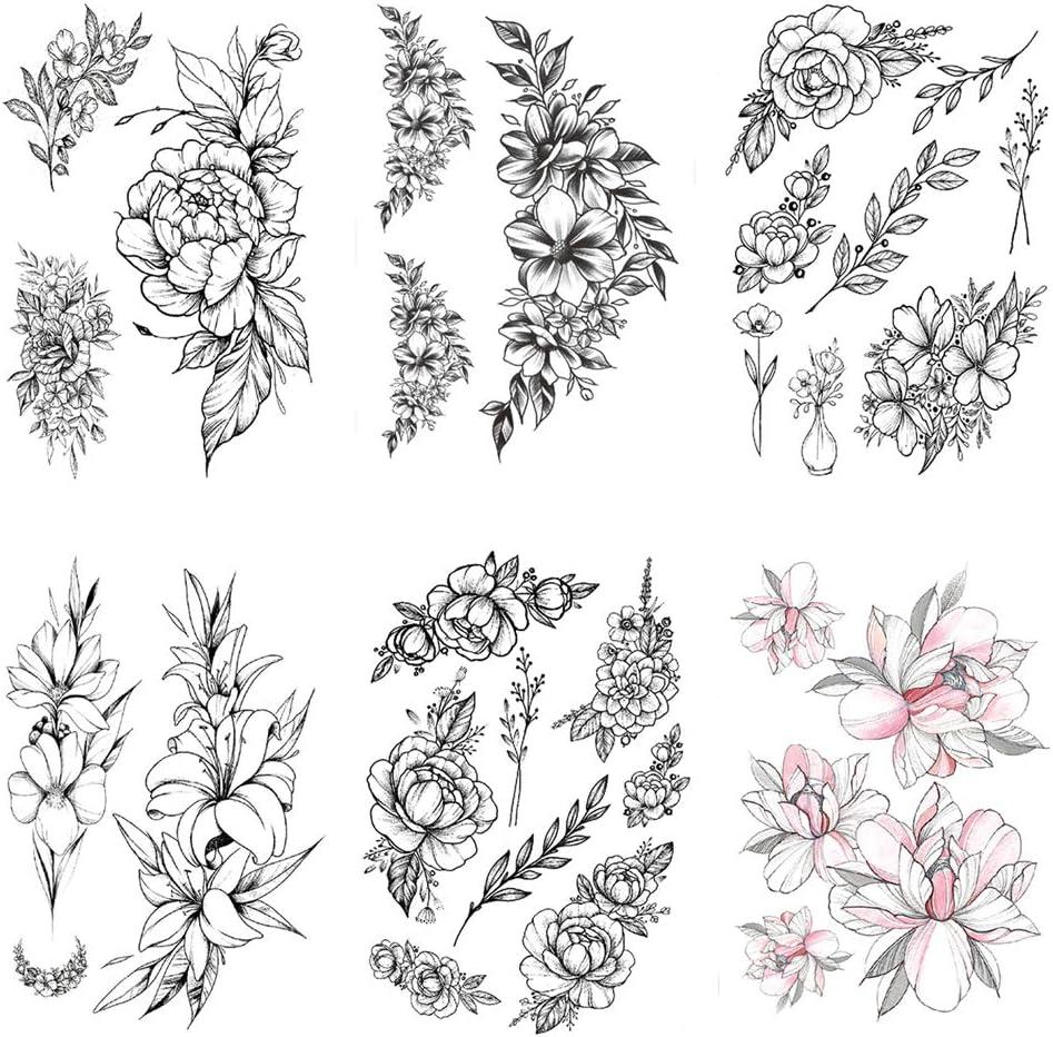 tzxdbh 2pcs Nueva Etiqueta engomada del Tatuaje del Brazo de Flor ...