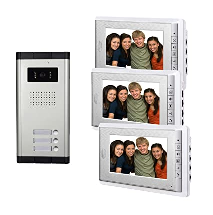 Amazon.com: AMOCAM Video Door Phone Intercom System, Wired Doorbell ...