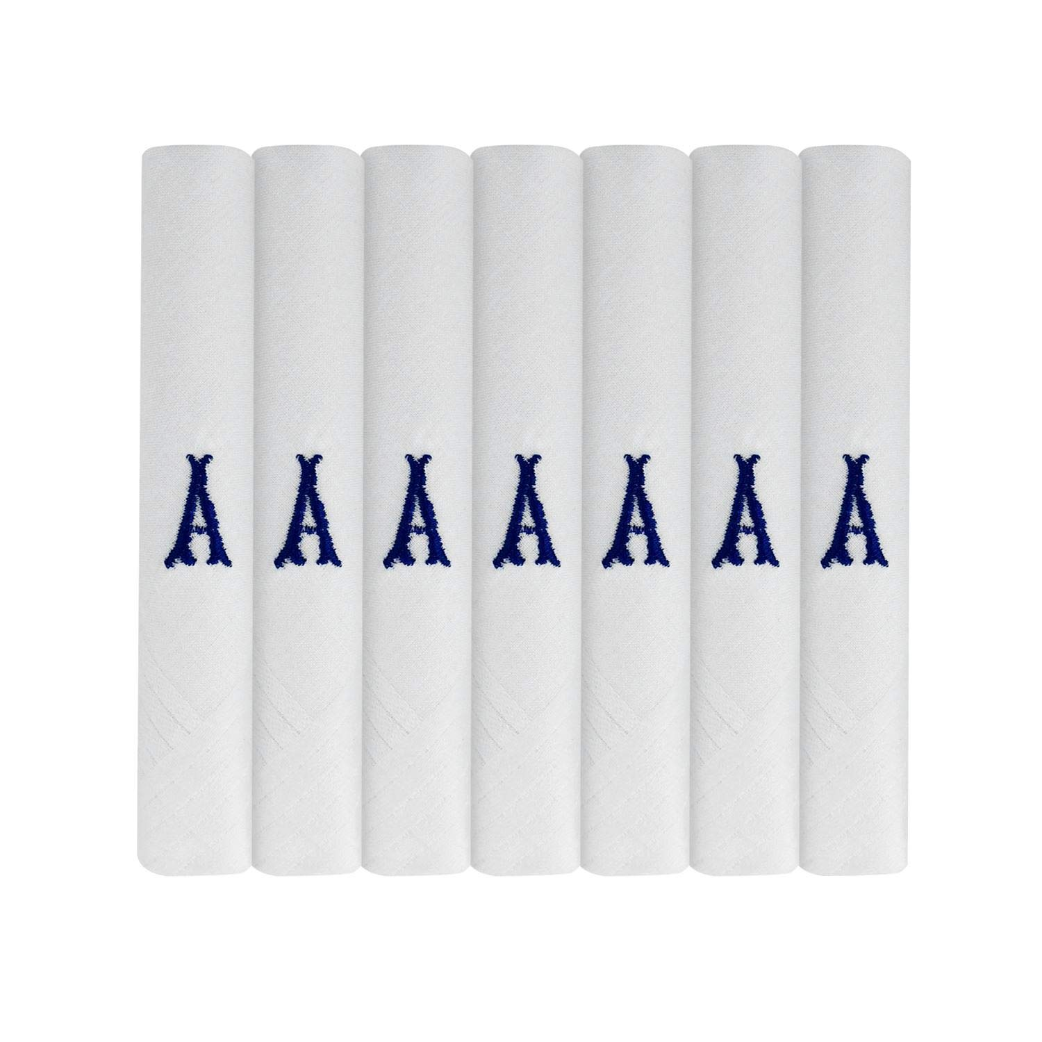 7 Pack Of Mens Initial Embroidered White Handkerchiefs With Satin Border, Various Letters Various Letters (A)