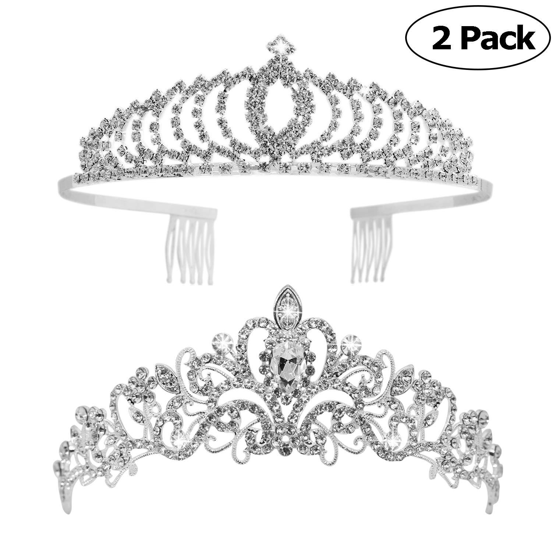 Tiaras and Crowns, Vofler 2 Pack Crystal Tiara Crown Headband Headpiece Rhinestone Hair Jewelry for Women Ladies Little Girls Bridal Bride Princess Queen Birthday Wedding Pageant Prom Party Sliver by Vofler