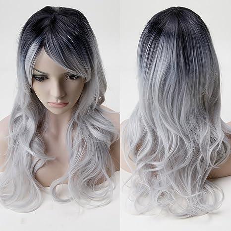 S-noilite mujeres gris de pelo largo cabeza completa Pelucas Rizado Traje de Cosplay Anime