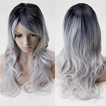 S-noilite® Women s Long Full Head Wigs Black Top to Grey Hair Curly Cosplay 89d0ba2d17